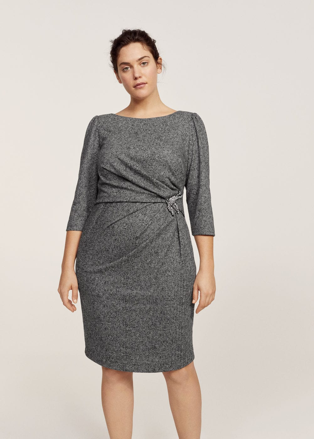 Herringbone appliqué dress | VIOLETA BY MANGO