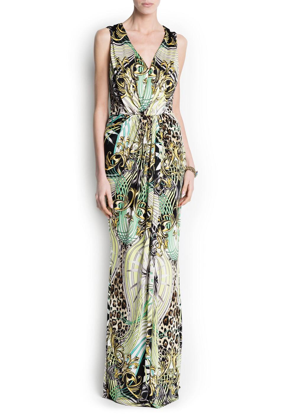 Scarf print long dress | MANGO