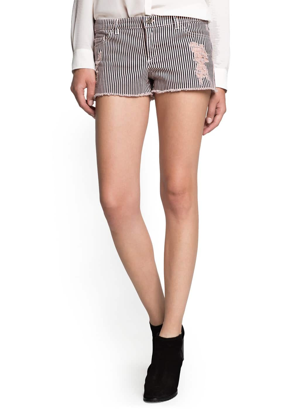 Ripped striped shorts | MANGO
