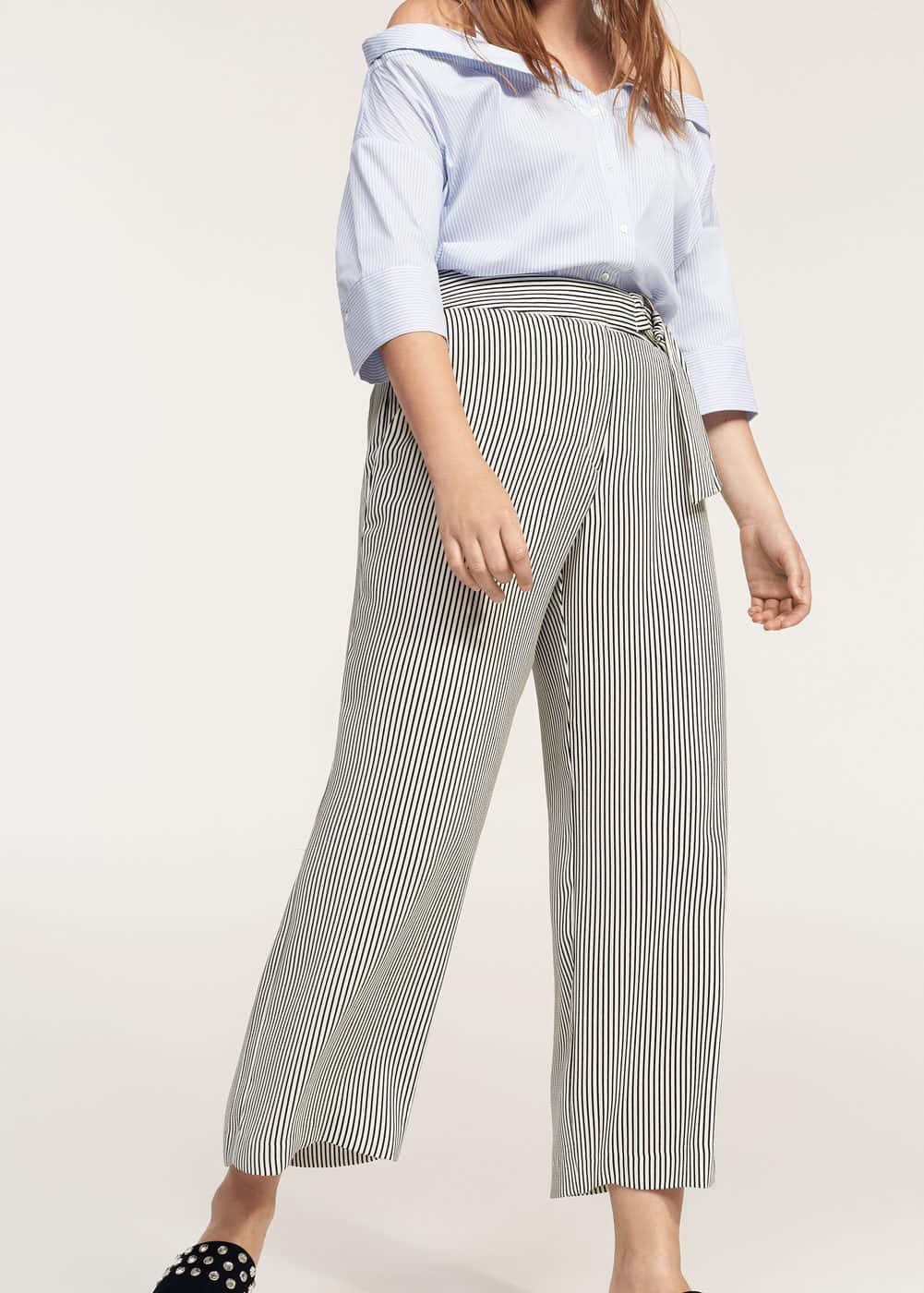 Straight striped trousers | VIOLETA BY MANGO