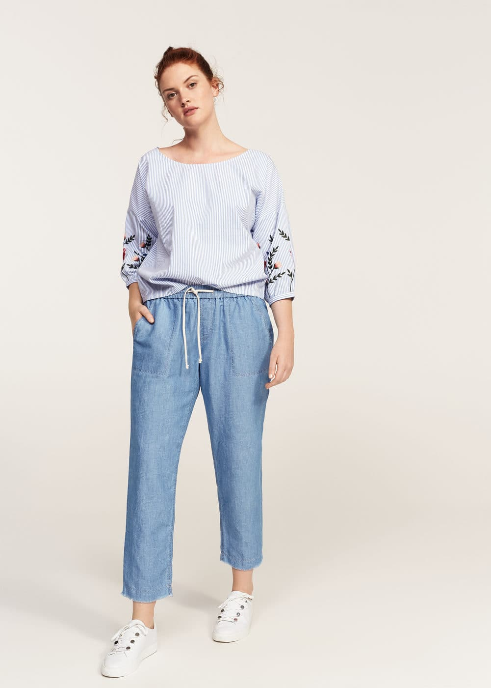 Linen baggy trousers | VIOLETA BY MANGO