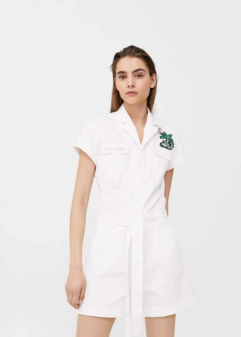 Embroidered patches jumpsuit | MANGO