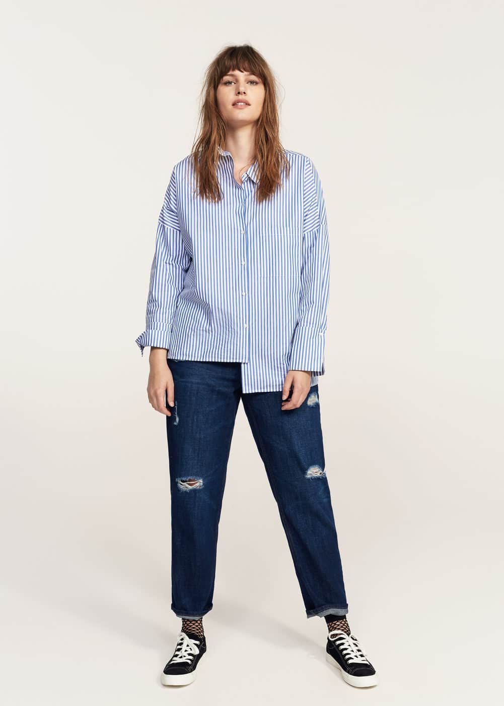 Striped cotton shirt | VIOLETA BY MNG