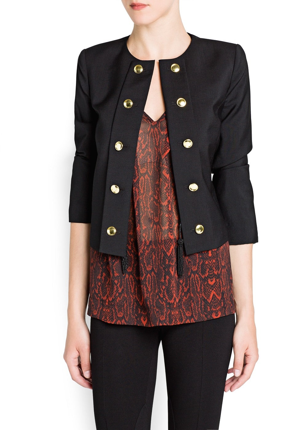Buttoned lapel wool jacket | MANGO