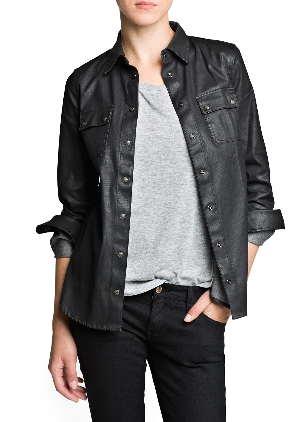 Coated black shirt | MANGO