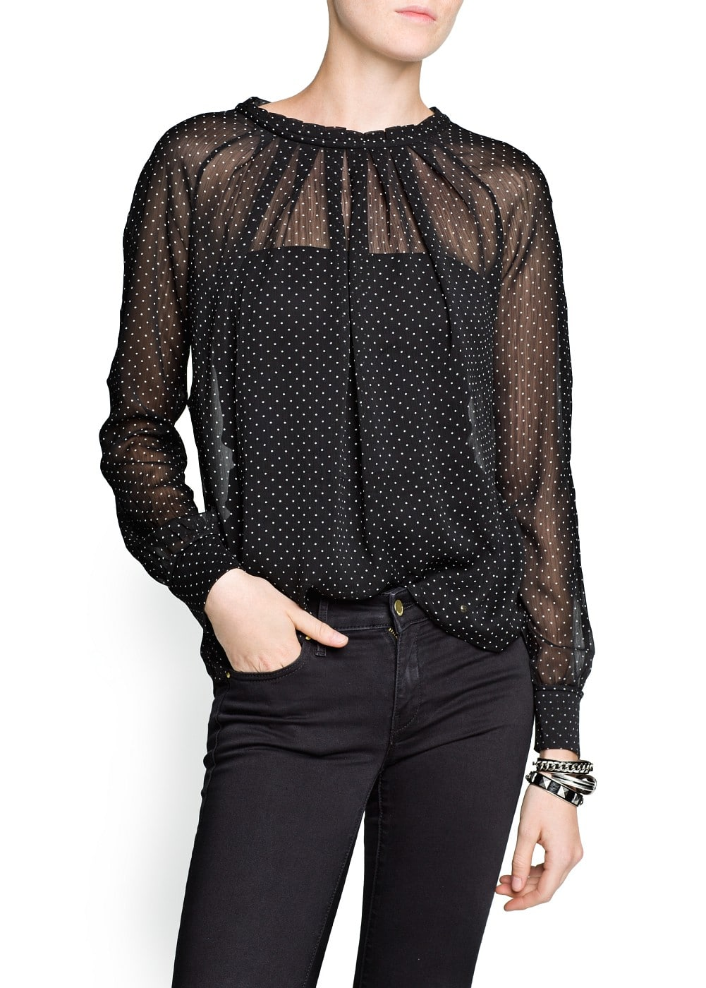 Pleated polka-dot blouse | MANGO