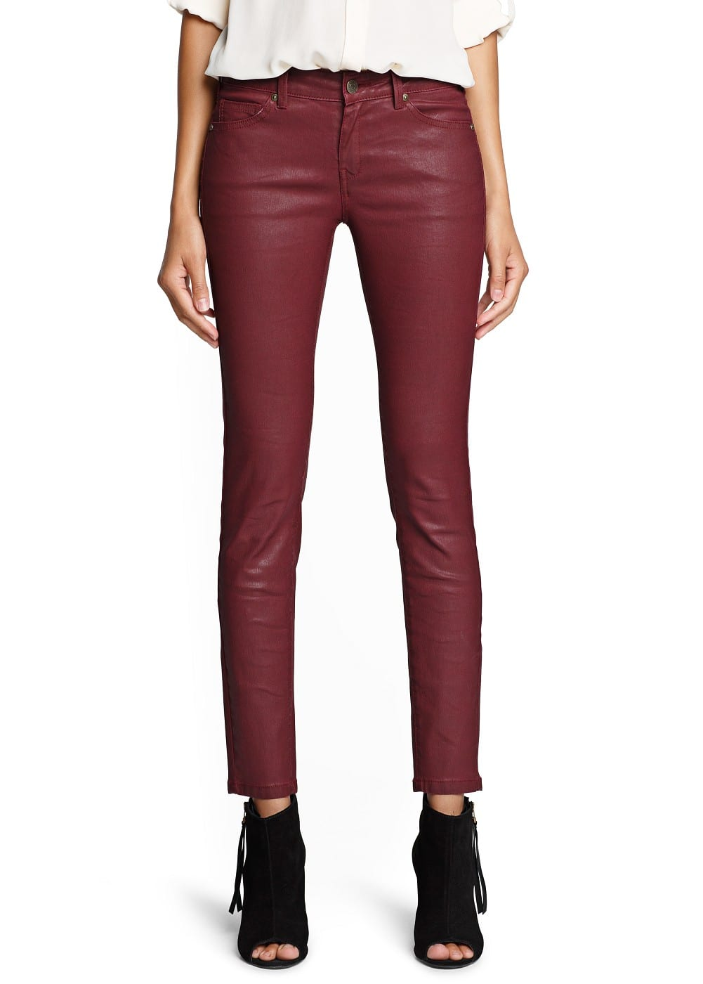 Super slim-fit coated burgundy jeans | MANGO