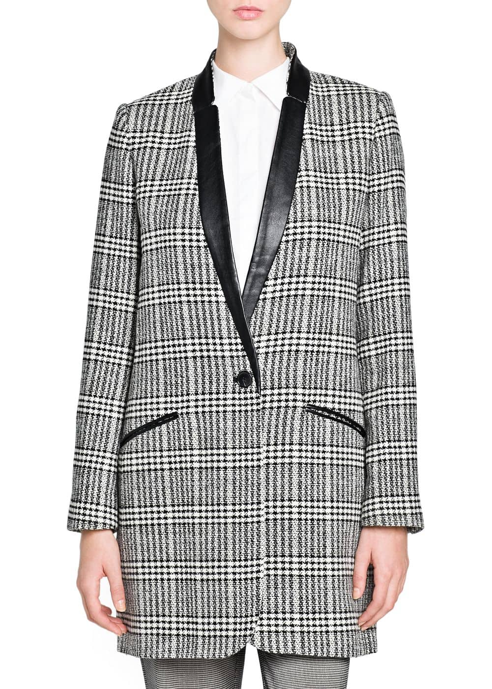 Prince of wales wool-blend coat | MANGO