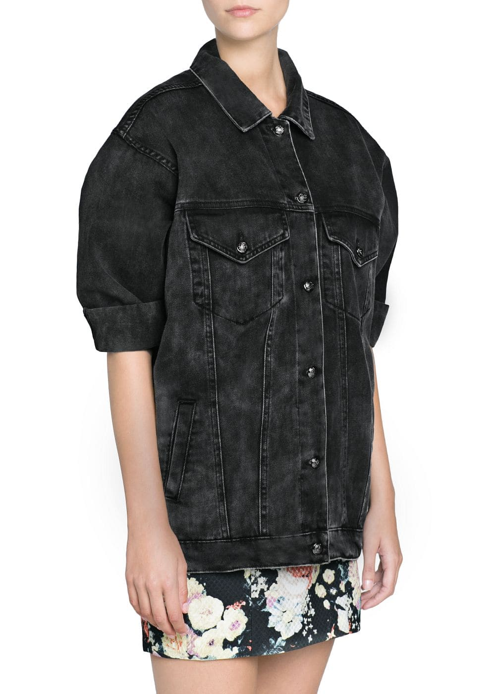 Black oversize denim jacket | MANGO