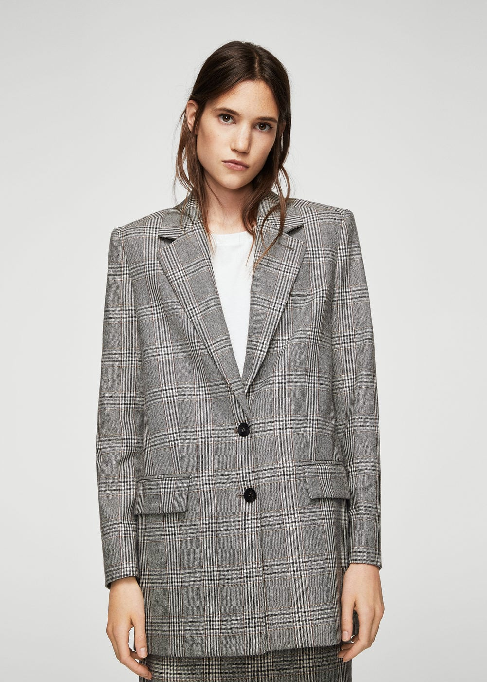 Prince of wales wool-blend blazer | MANGO