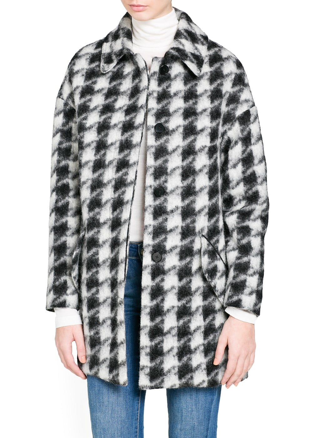 Houndstooth wool-blend oversize coat | MANGO