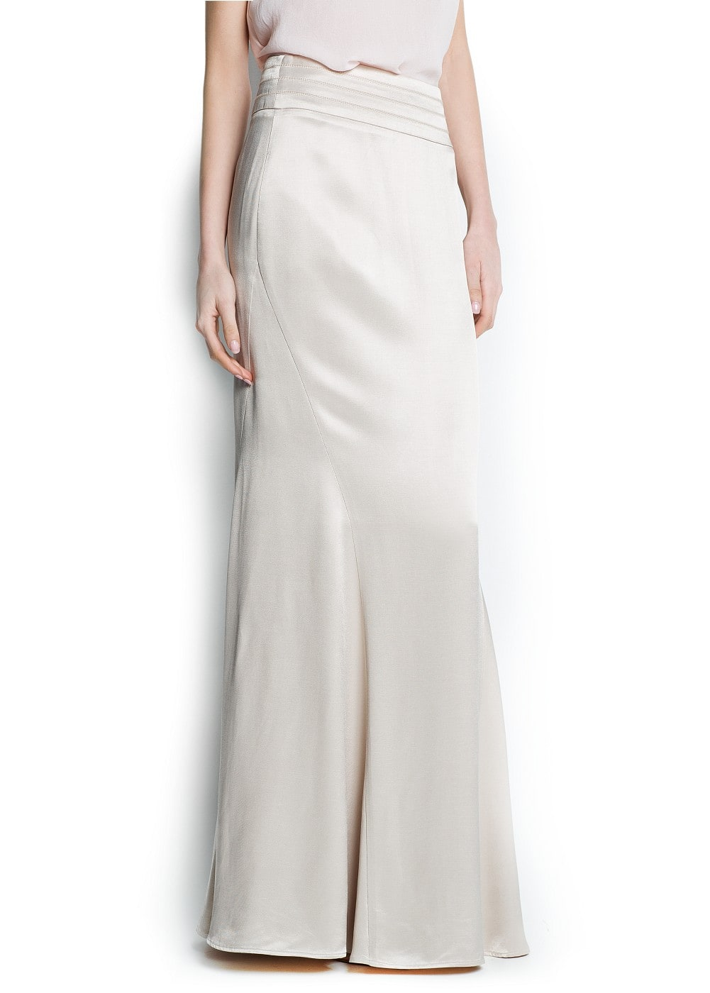 Satin finish long skirt | MANGO