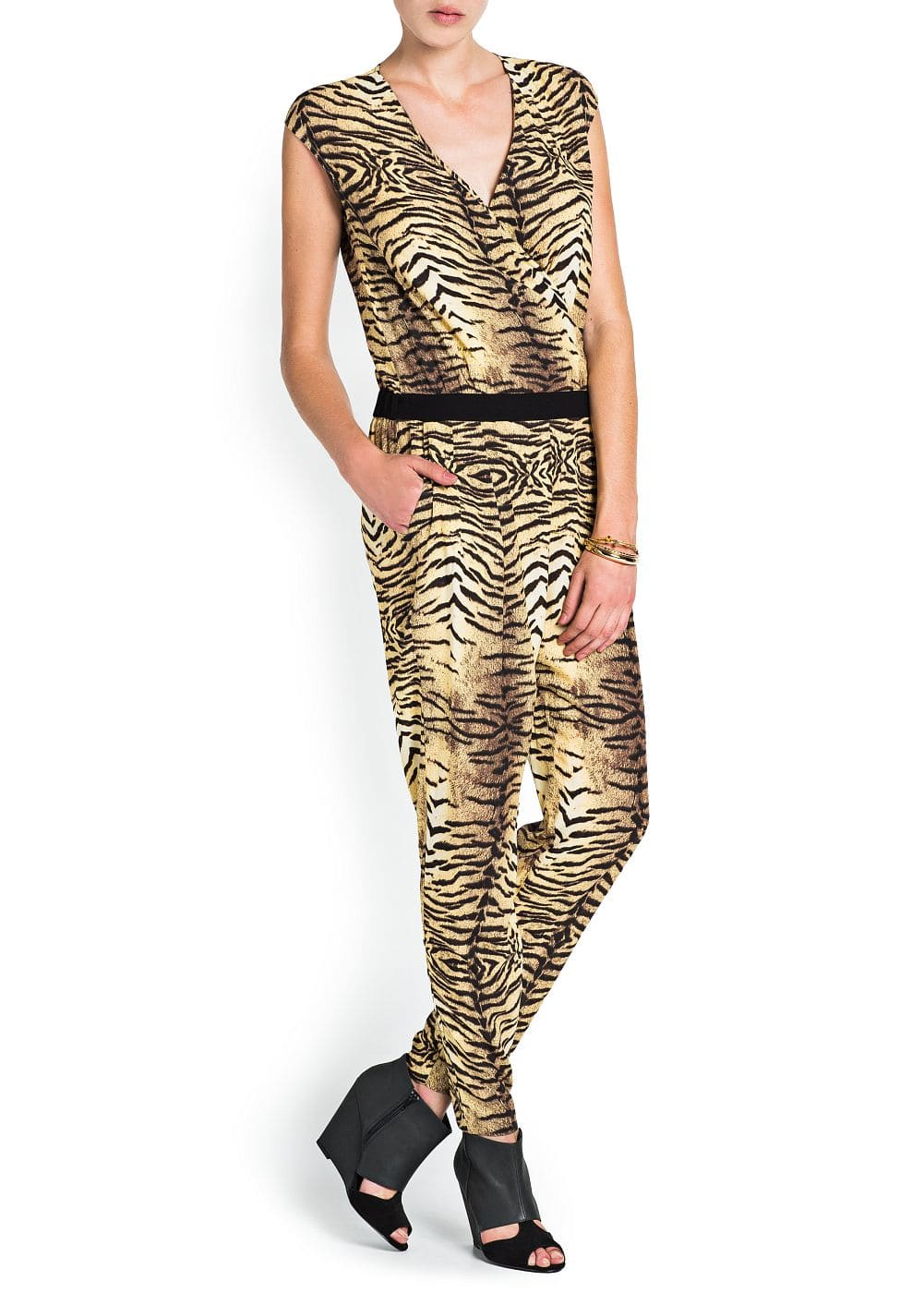 Animal print wrap jumpsuit | MANGO