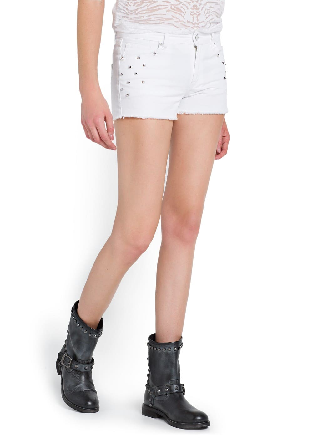 Spikes denim shorts | MANGO