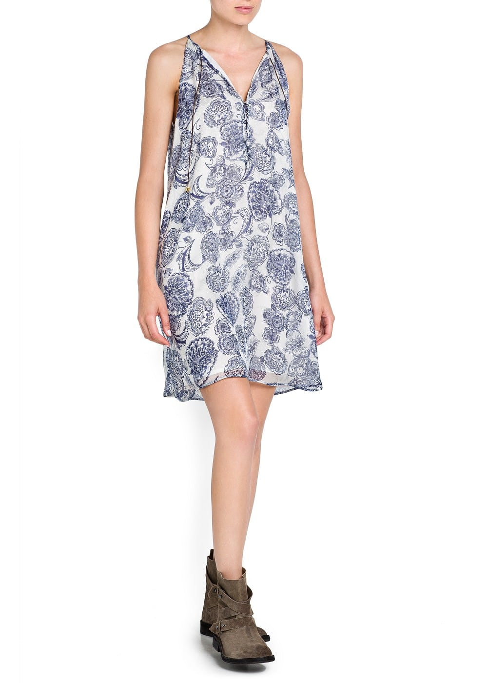 Silk printed dress | MANGO