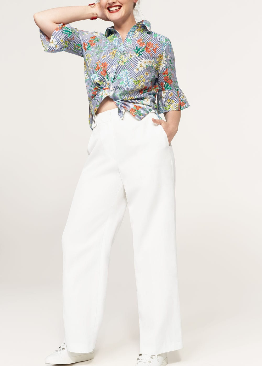 Flowy linen-blend trousers | VIOLETA BY MANGO