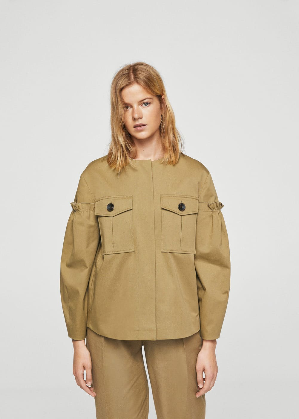 Ruched sleeve pocket jacket | MANGO