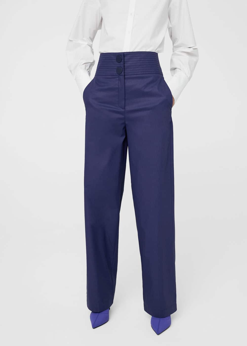 Seams waist coated trousers | MANGO