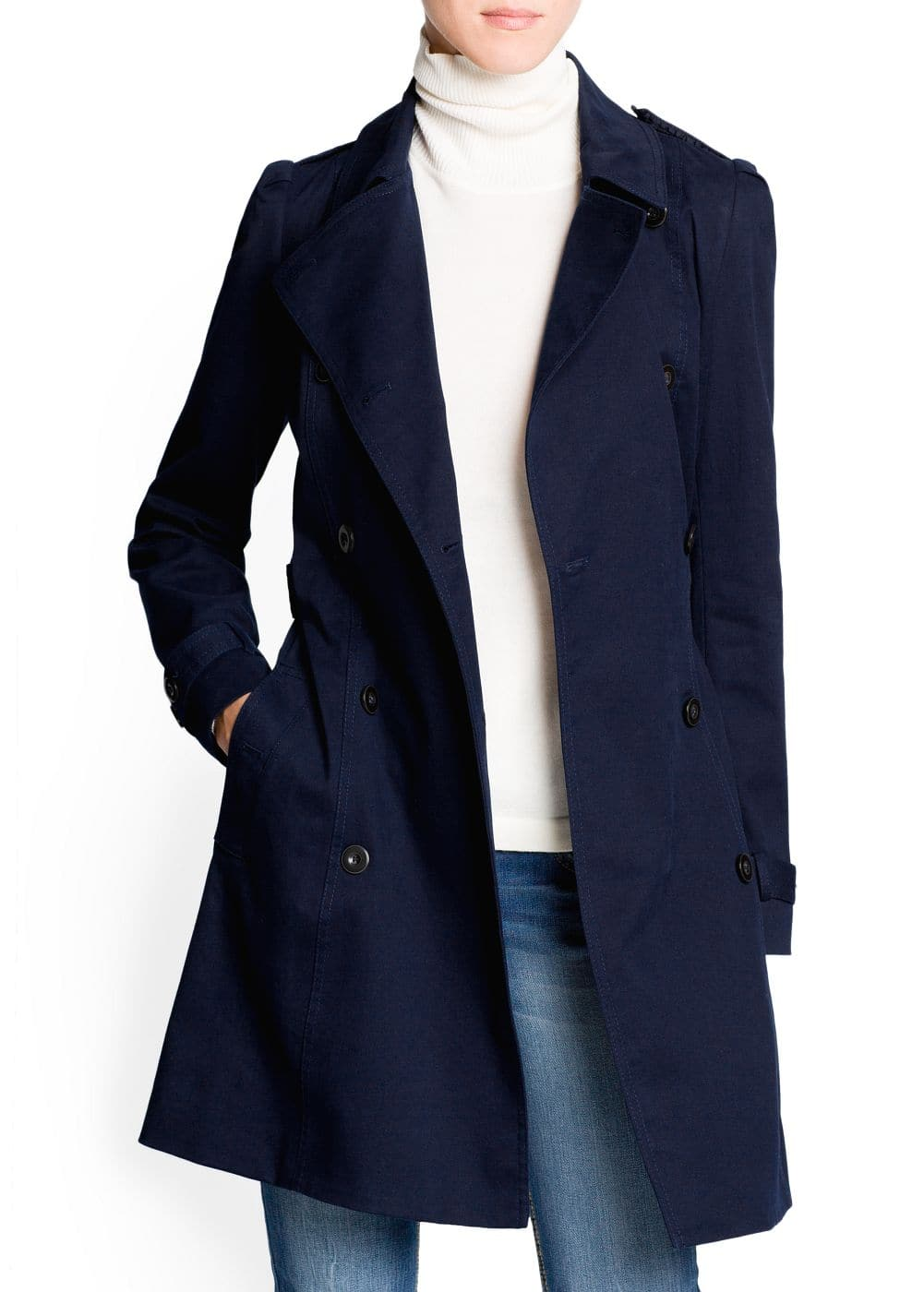Puffed shoulder cotton trench coat | MANGO