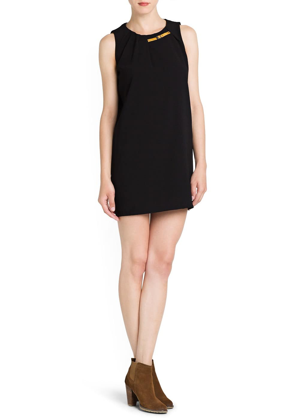 Embellished neck crepé dress | MANGO