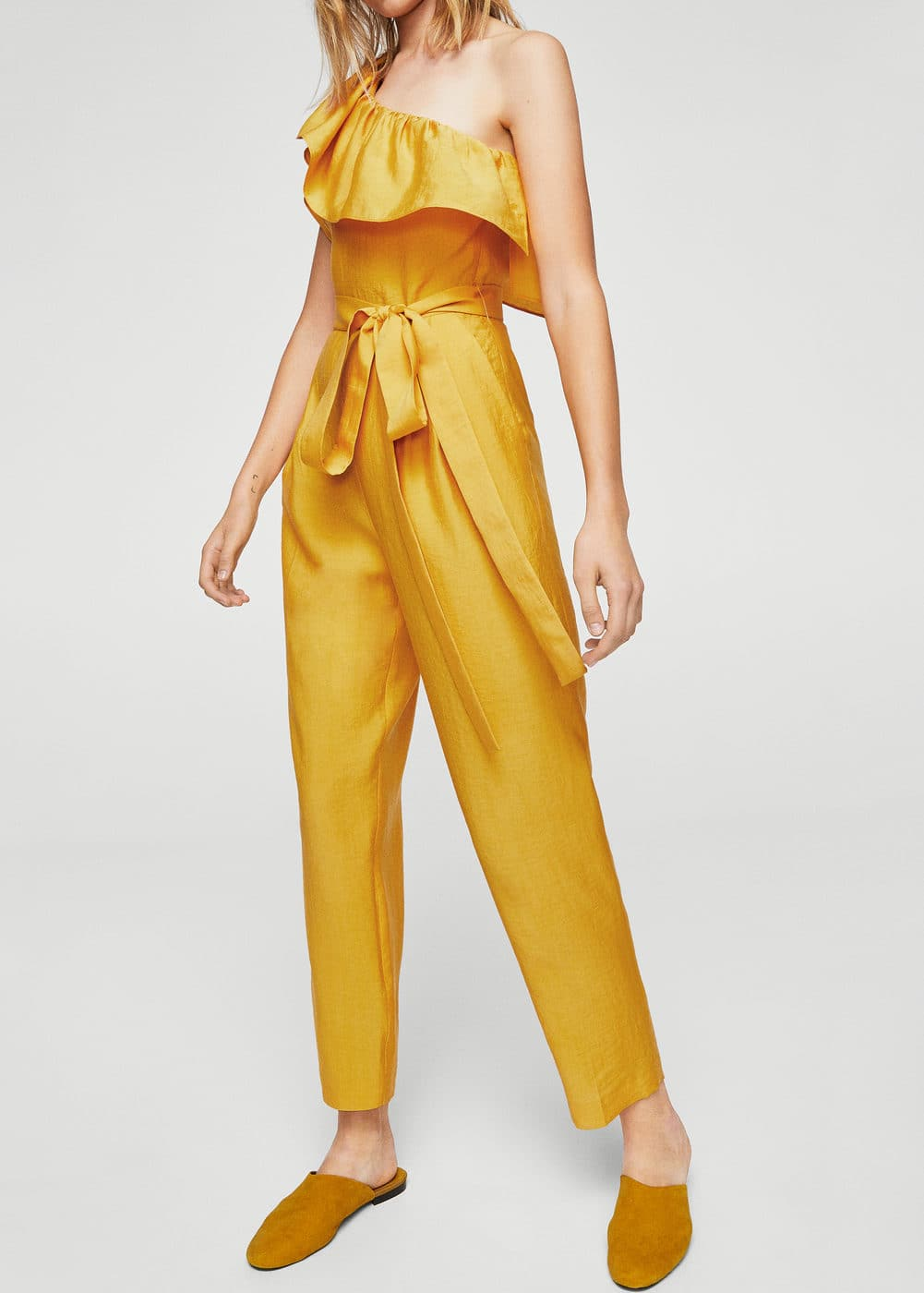 Bow ruffled jumpsuit | MANGO