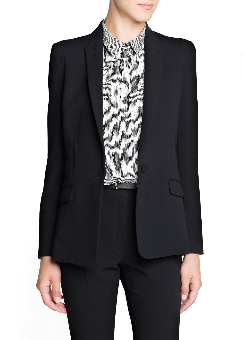 Engraved button suit blazer | MANGO