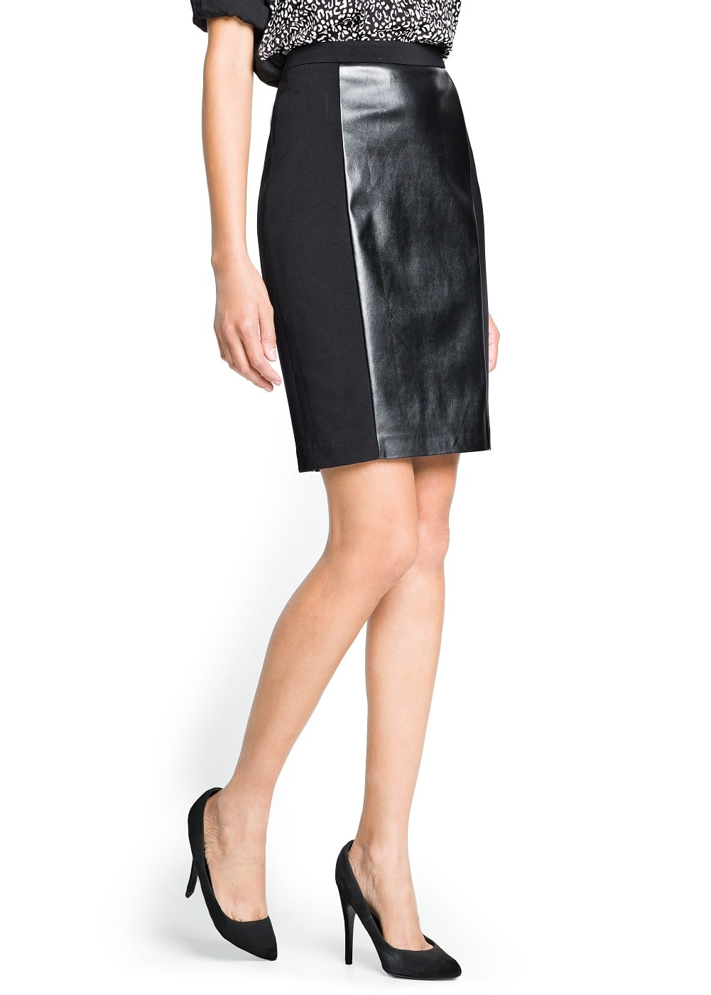 Faux leather panel skirt | MANGO