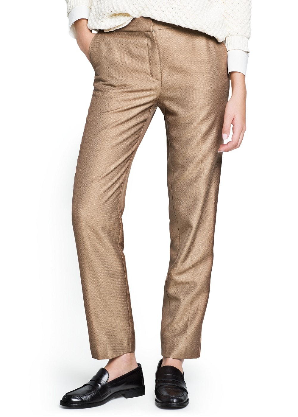 Satin jacquard trousers | MANGO