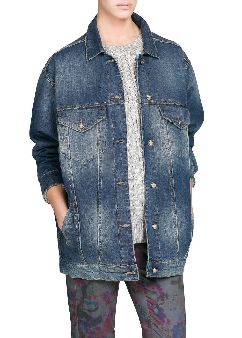 Dark wash oversize denim jacket | MANGO