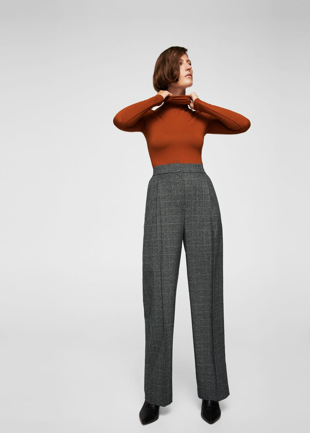 Check pleated trousers | MANGO