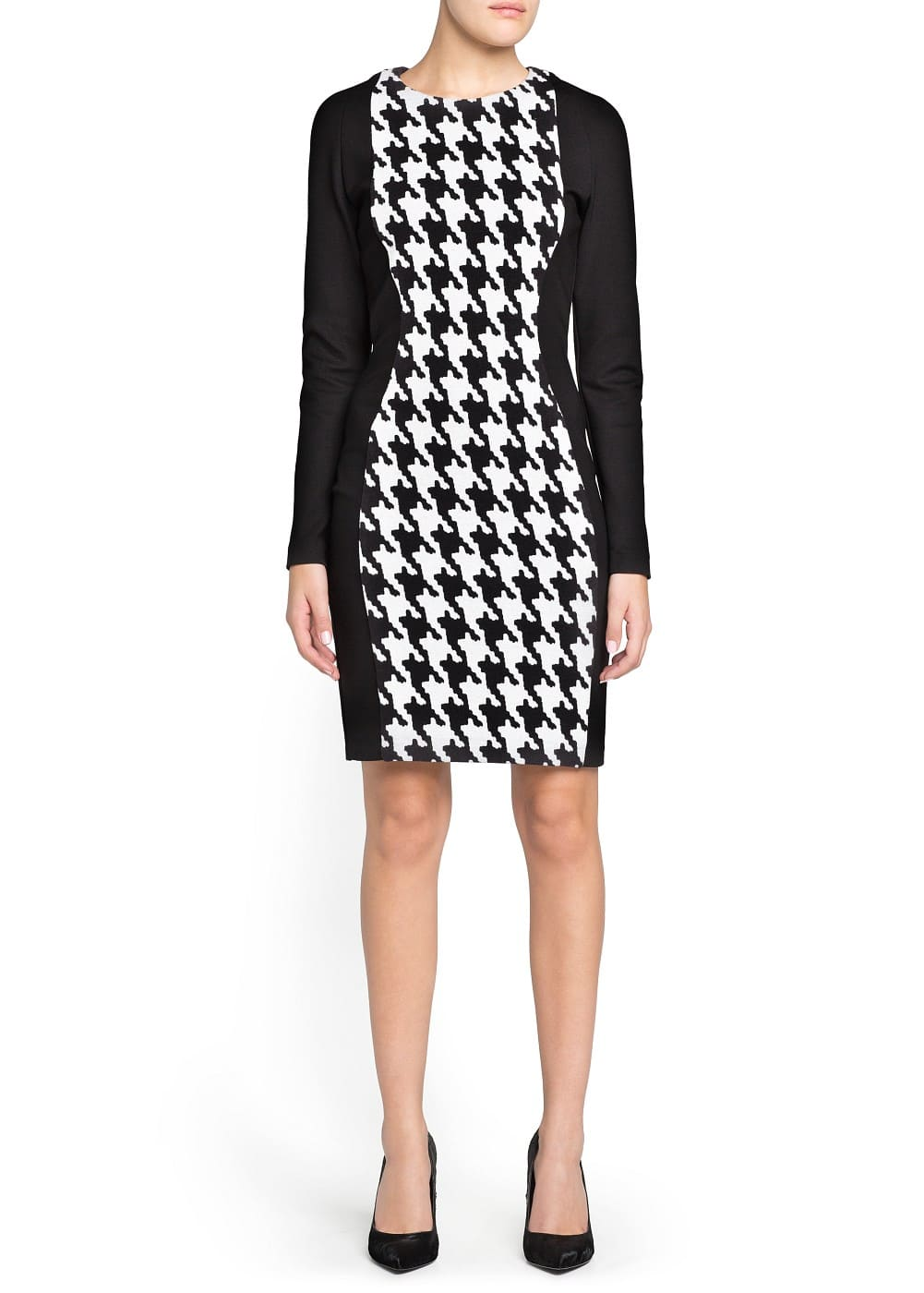 Pencil houndstooth dress | MANGO