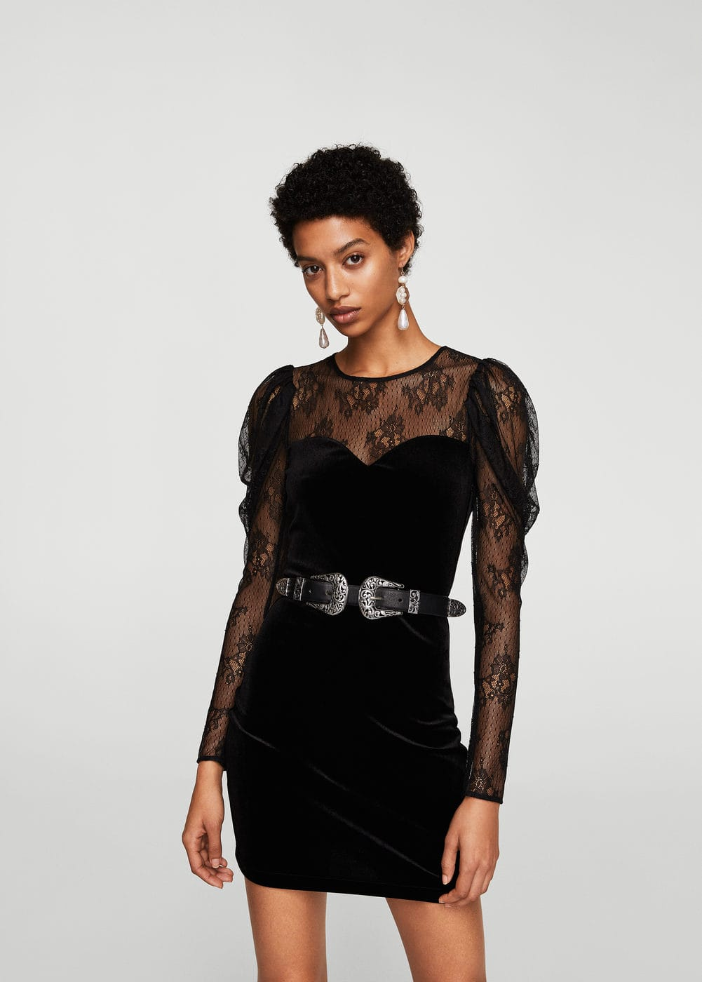 Lace velvet dress | MANGO
