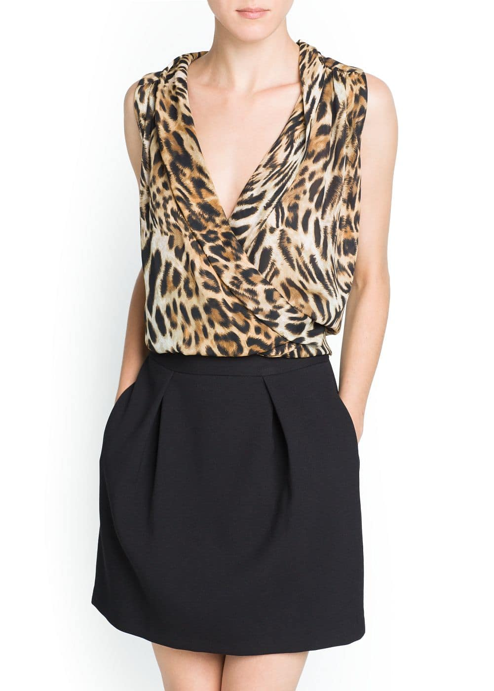 Top cruzado estampado leopardo | MANGO
