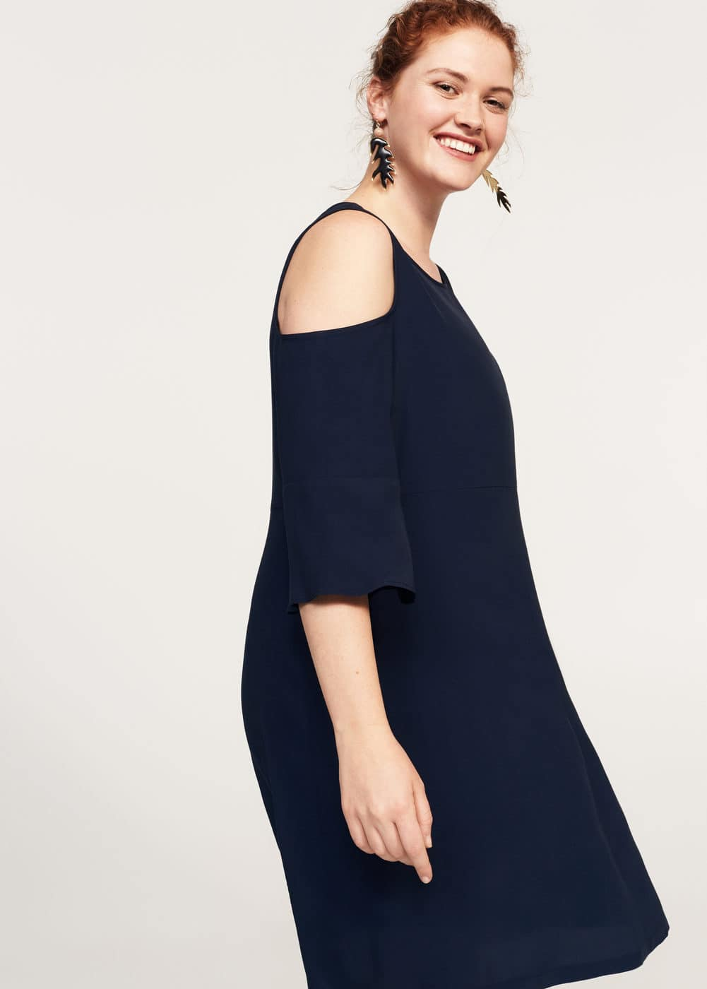 Flowy off-shoulder dress | VIOLETA BY MANGO
