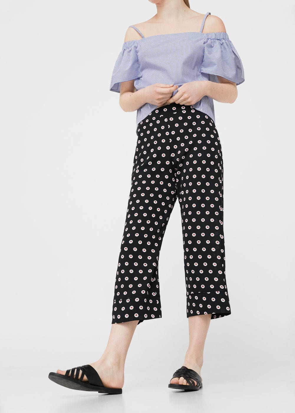 Printed crop trousers | MANGO