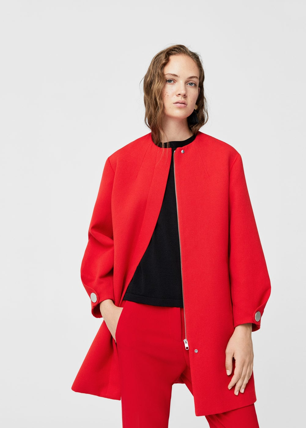 Textured cotton-blend coat | MANGO