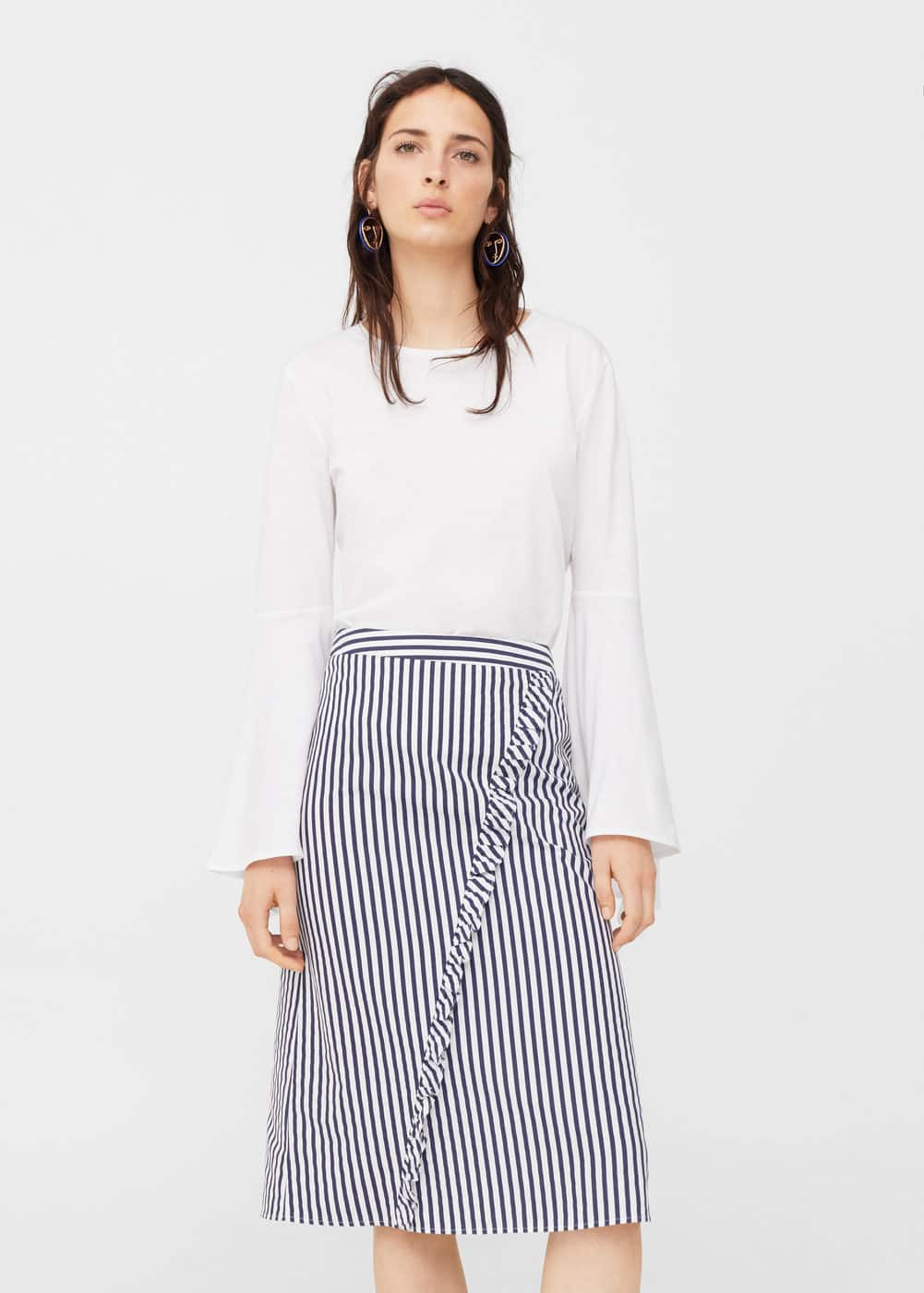 Ruffled striped skirt | MANGO