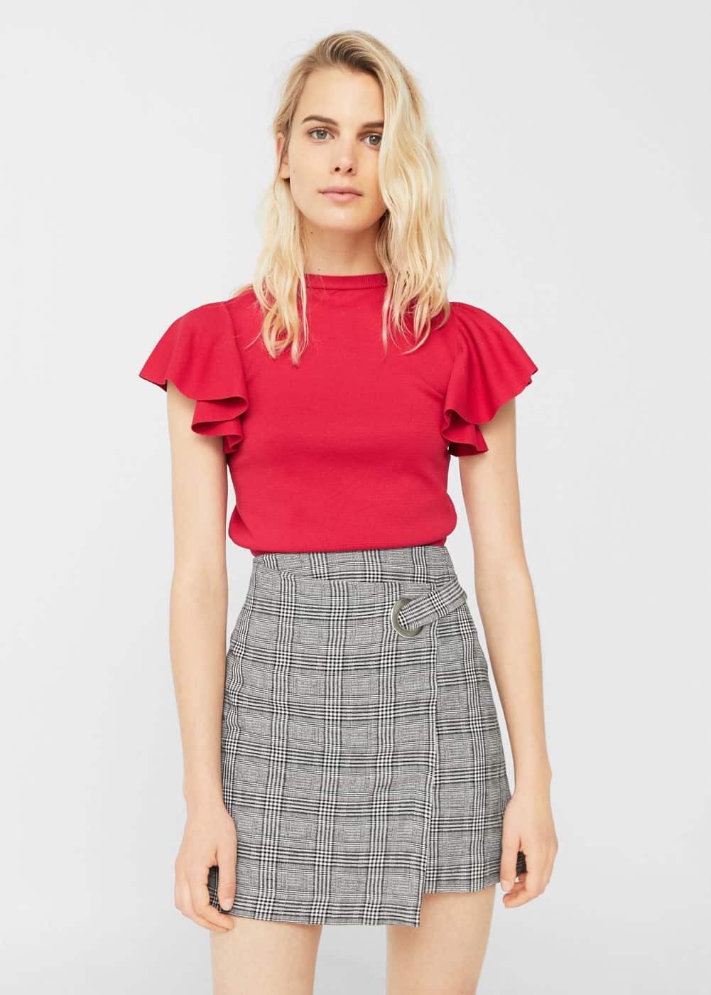 Check wrap skirt | MANGO
