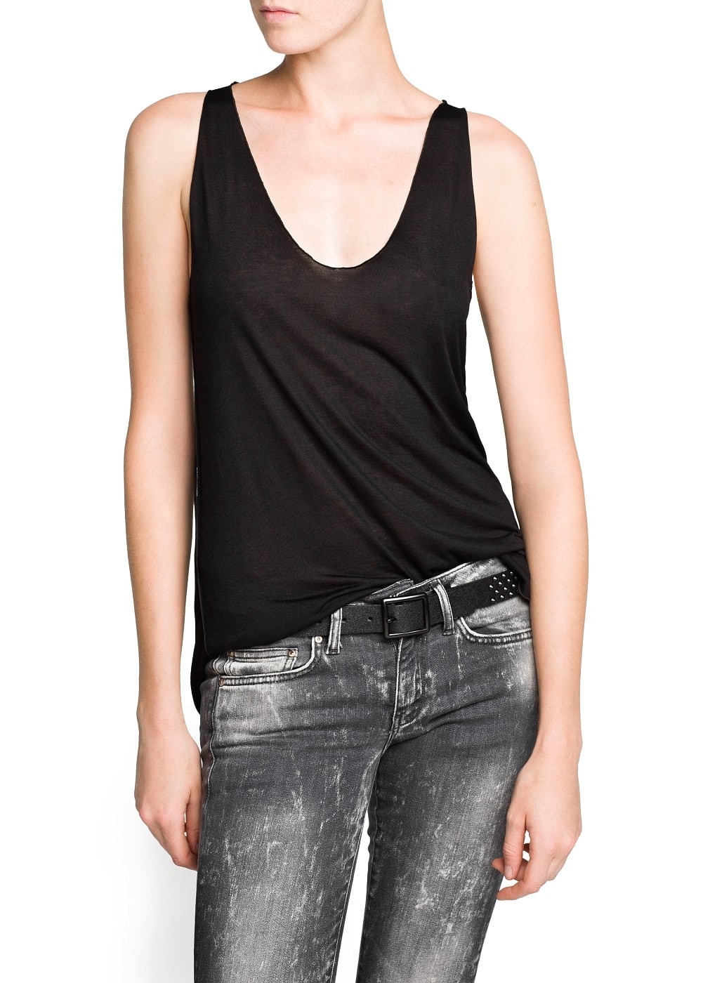 Stitched edges strap top | MANGO
