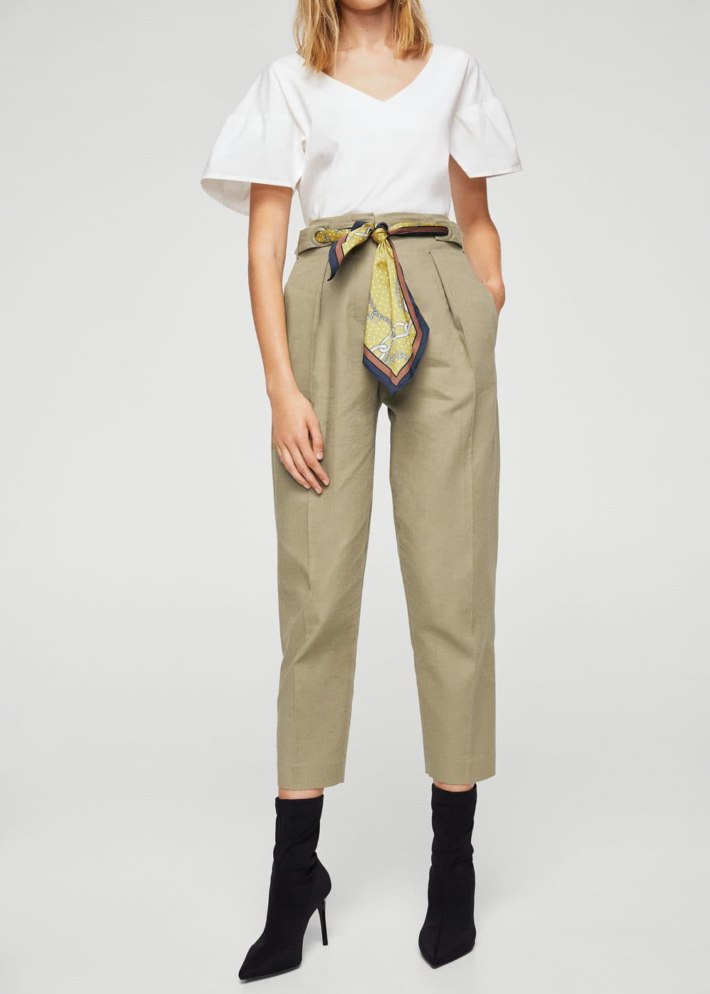 Scarf belt trousers | MANGO