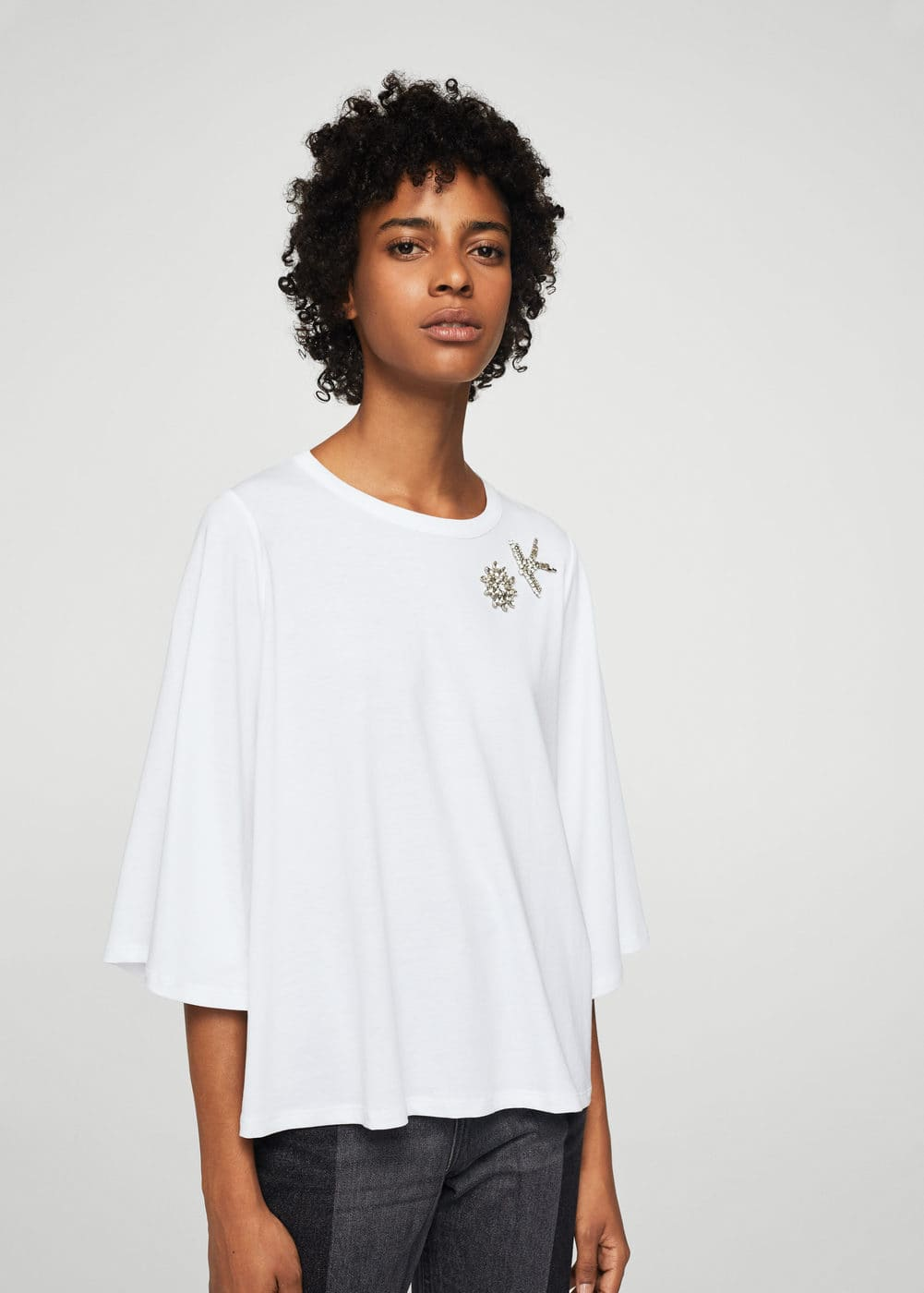 Message beaded t-shirt | MANGO