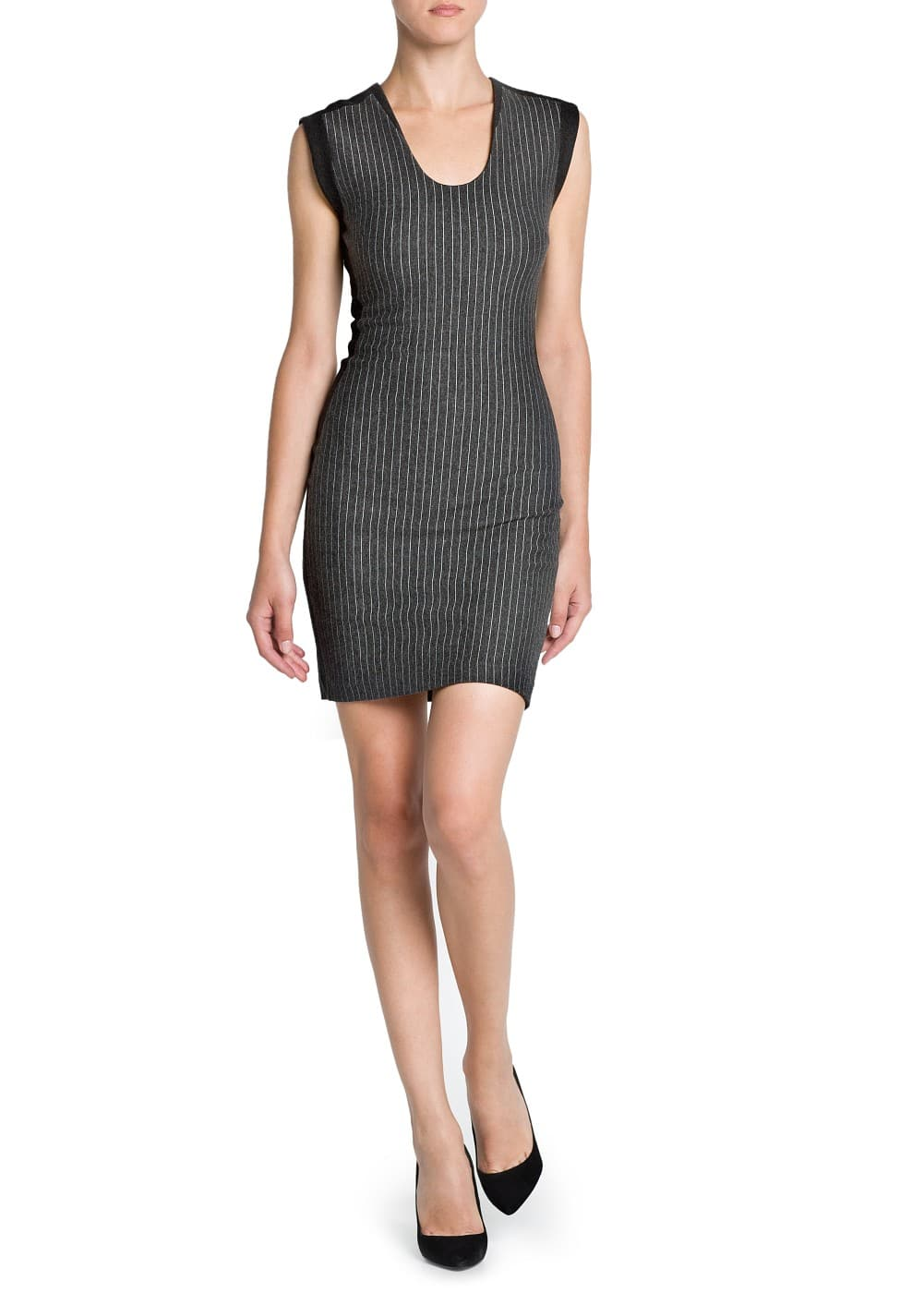 Pinstripe pencil dress | MANGO
