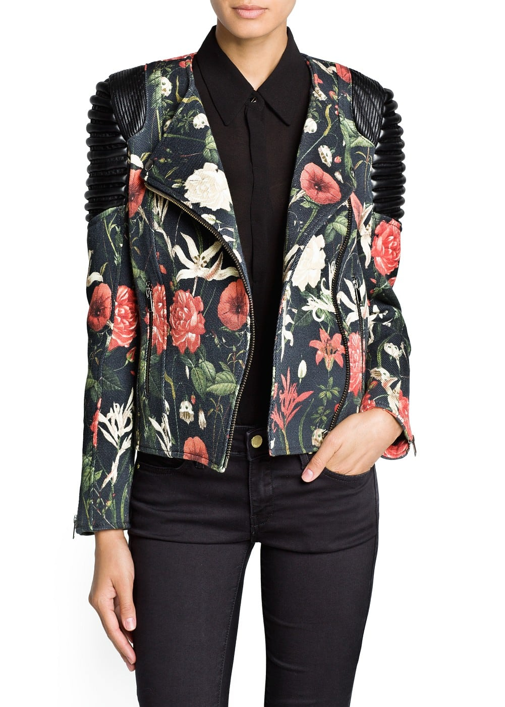 Quilted panel floral biker jacket | MANGO