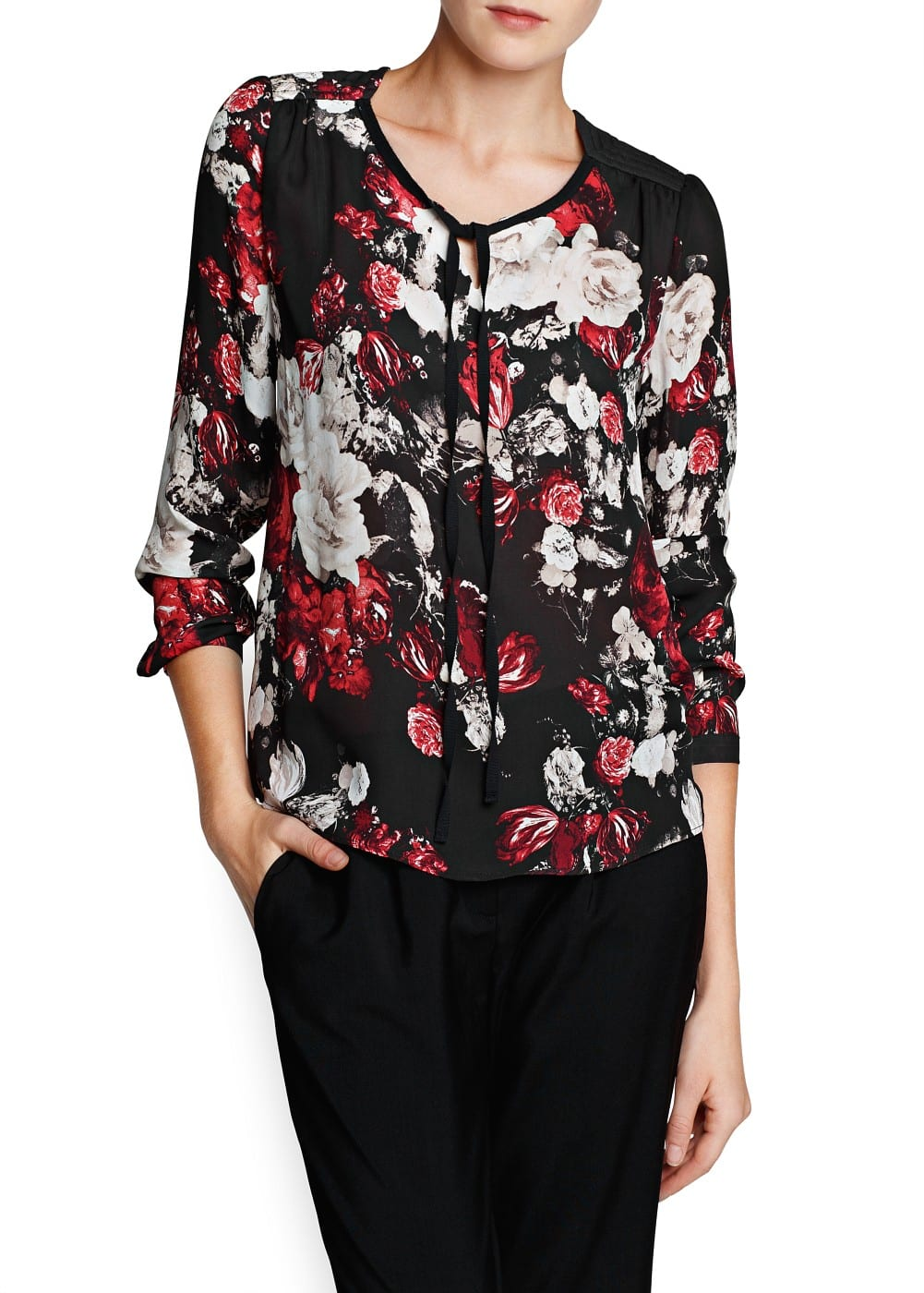 Quilted shoulder floral blouse | MANGO