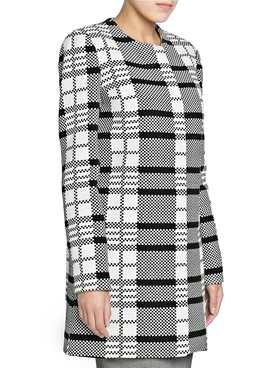 Check jacquard straight-cut coat | MANGO