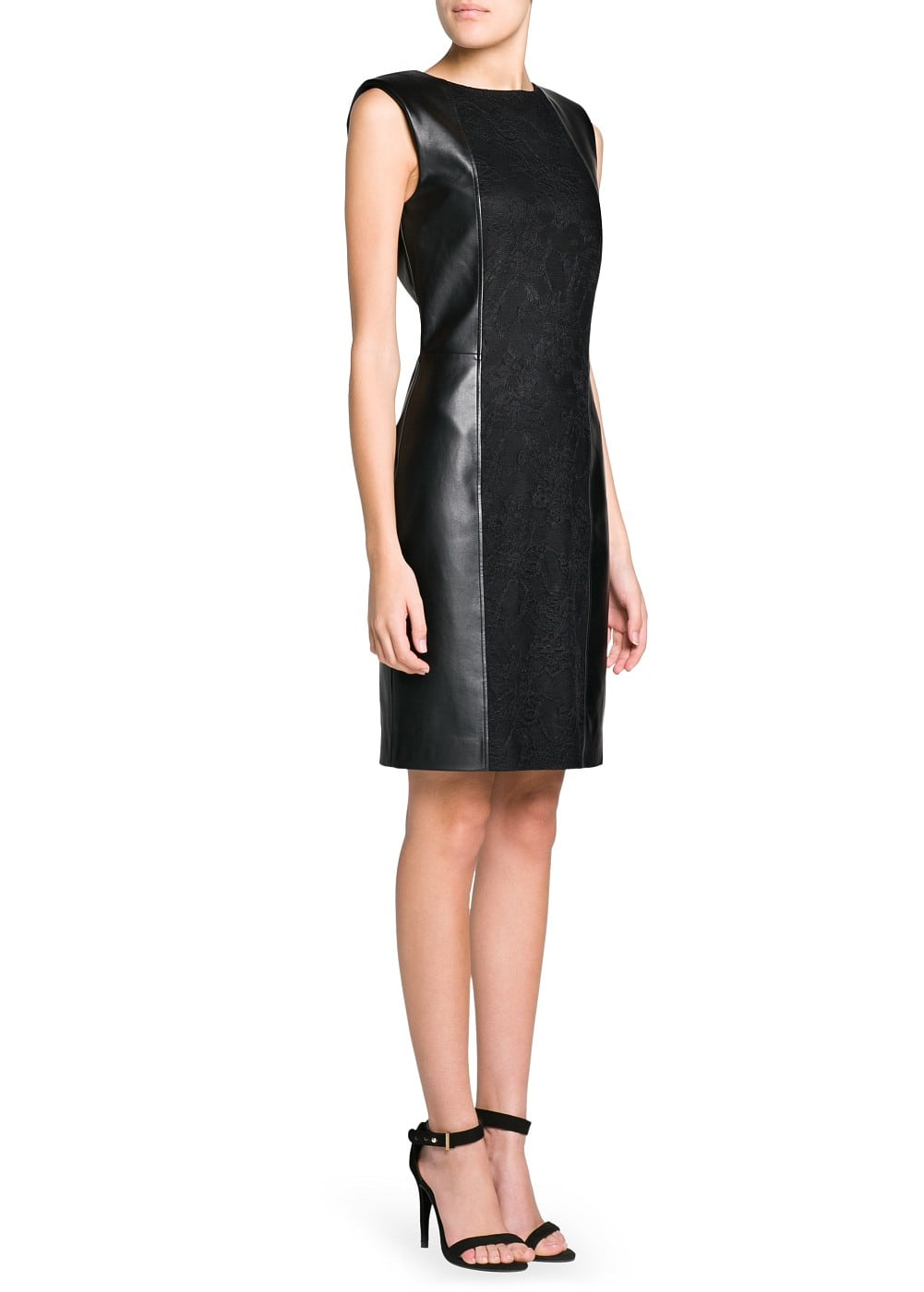 Lace appliqué faux leather dress | MANGO