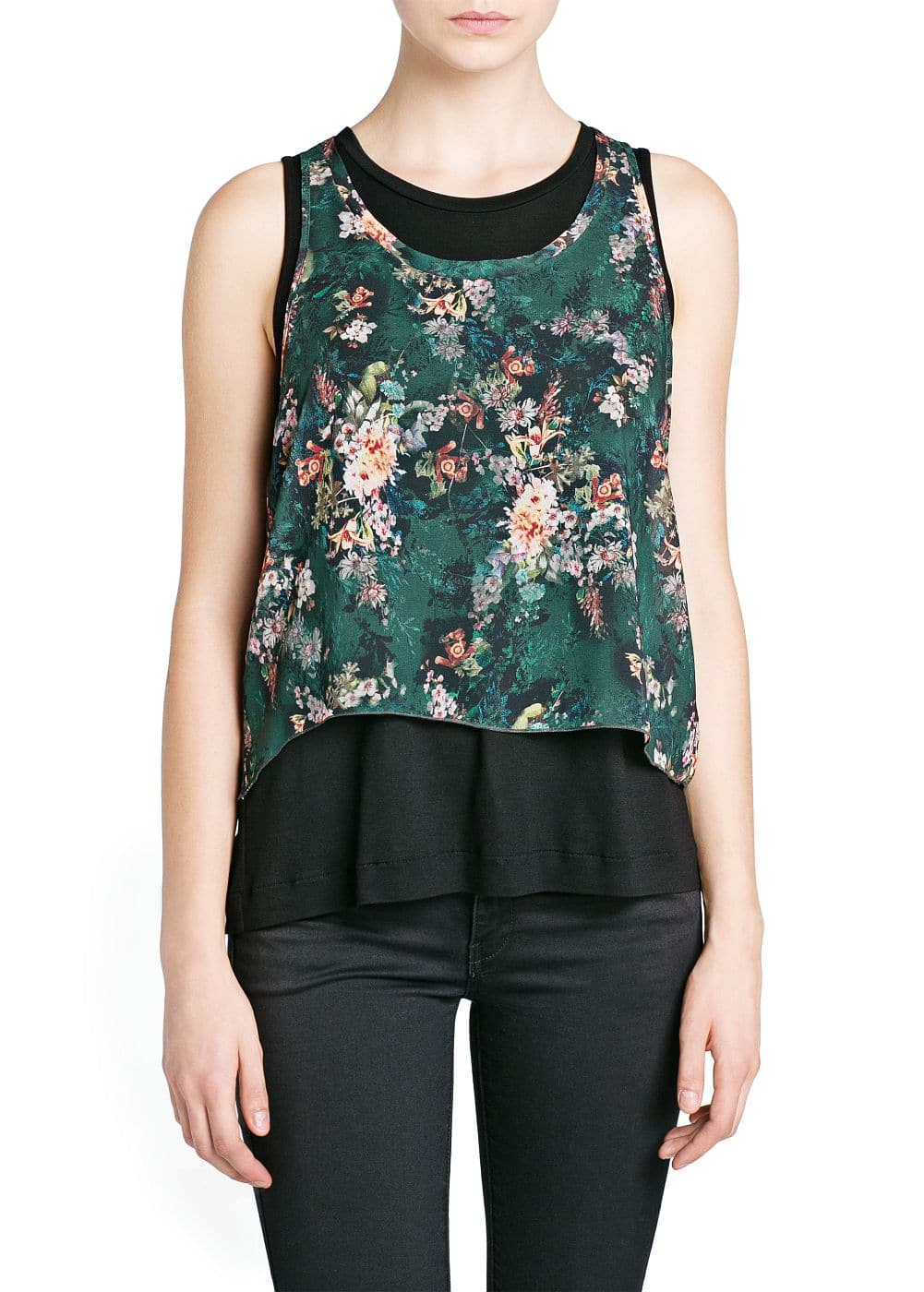 Double-layer chiffon top | MANGO