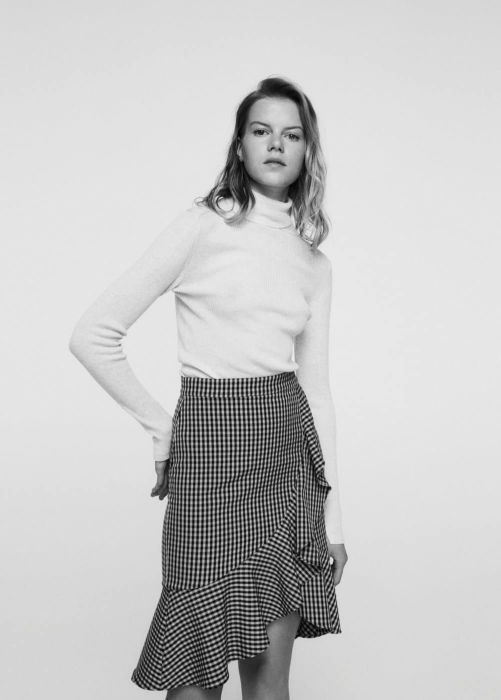 Ruffled checked skirt | MANGO