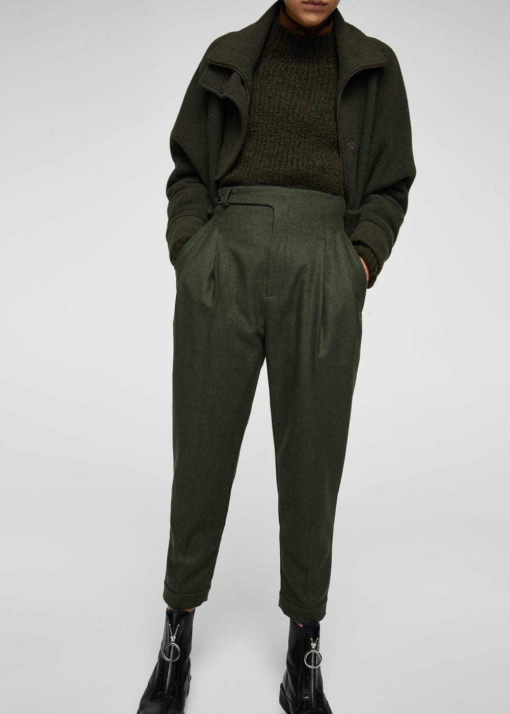 Pleat detail wool trousers | MANGO