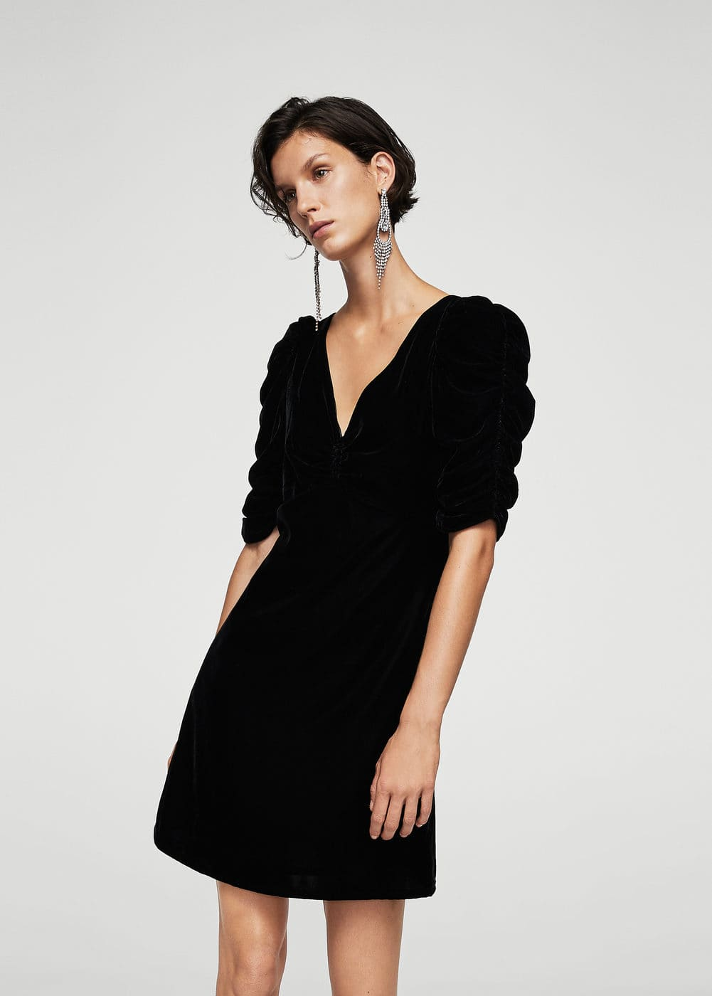 Ruched velvet dress | MANGO